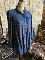Anthropologie Holding Horses Navy Front Pocketed Button Down Top Blouse Xs