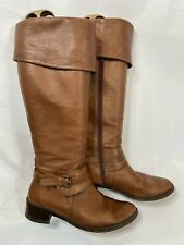 Duo Brown Leather Boots Size 41 Tall Fold Over 41cm Calf Fitting