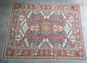 Vintage Soumak Rug with Caucasian Dragon Design Handmade 6' by 7.5'