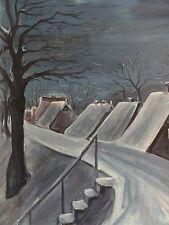 RITTER signiert leicht naives Gemälde 1981: WINTERLICHE KLEINSTADT IM MONDSCHEIN