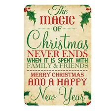 Aluminium Sign-Magic of Christmas Never Ends, Family-Metal Door,Wall Plaque