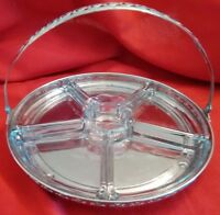 EMPRESS NY Stamping Co Handled Veggie/Dip Serving Tray w/Glass Sections