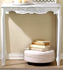 "CLASSIC ENTRY HALL ** ELEGANT DISTRESSED WHITE 30.8"" SCALLOPED HALL TABLE ** NIB"