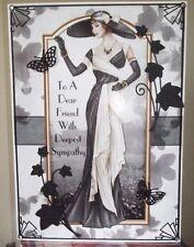 HANDMADE ART DECO PERSONALISED WITH SYMPATHY FRIEND CARD A ELEGANT LADY IN BLACK