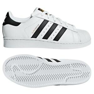 Adidas Originaux Juniors Blanc/Noir Superstar Baskets Chaussure UK Taille 3-5.5