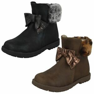 Girls Spot On Zip Fur Collar Synthetic Ankle Boots H4R183