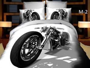Motorbike Duvet Cover Set Kids Boys Single Quilt Childrens Bedding Harley