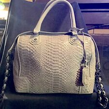 Alice and Olivia Grey Snakeskin Embossd Leather Bowler Bag Goop Collaberation