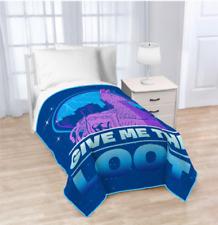 "Fortnite Gamer Plush Blanket Blue Puple Llama Give MeThe Loot 62"" X 90"", NEW"