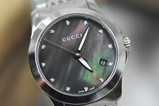WOMEN'S GUCCI YA126505 TIMELESS STAINLESS STEEL DIAMOND WATCH WITH MOP DIAL