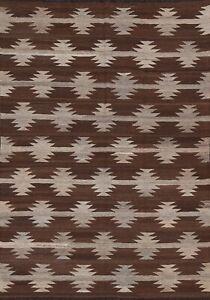 Natural Dye KILIM Afghan Geometric Oriental Area Rug Reversible Hand-Woven 5'x7'