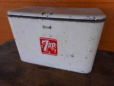 Vintage Soda Pop Cooler VINTAGE  7UP PICNIC COOLER BOX AIRLINE 18 x 9 x 11.5tall