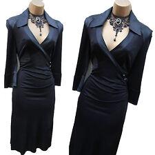 Karen Millen Black Jersey/Silk Wrap Style Shirt Cocktail Evening Dress 10 UK