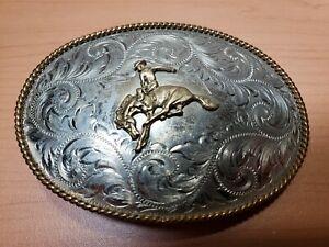 Vintage Montana SilverSmith Belt Buckle German Silver Plate Rodeo Cowboy