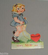 Vtg Valentine Card 30's Classic Toy Little Girl Jump Rope Skipping Skip Unused