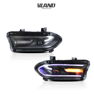 VLAND RGB LED Headlights For Dodge Charger 2015-2020 LED Projector Assembly