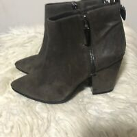 Vince Camuto Leather Block Heel Ankle Grayish Brown Zip Every Side Leather 8M 38
