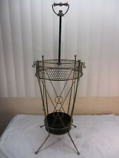 "Vtg Mid Century Modern Gold Tone Metal Wire Umbrella Stand Wood Handle 30"" Tall"