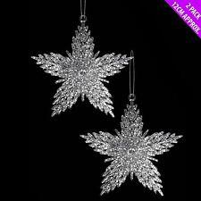 Festive Weihnachten Schneeflocke Stern Wandbehang Glitzer Baum 2er Set