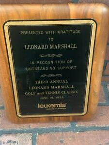 Leonard Marshall Golf and Tennis Classic Plaque 1993