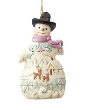 Jim Shore Snowman With Scene, Victorian Santa, Santa with Satchel Ornaments NEW