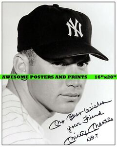 Vintage, Extremely RARE Mickey Mantle signed Large Photograph Reprint. 16x20