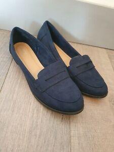 PAPAYA Flat Faux Suede Loafers Shoes Size UK8