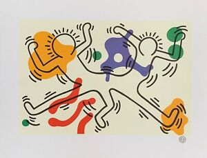 "KEITH HARING ""French Dancers"" Lithograph Art Printed in France1992"