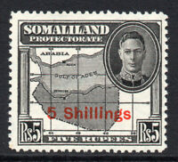 Somaliland 5 Shillings Overprint on 5 Rupee Stamp c1951 Mounted Mint  (1635)