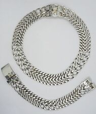 Curb Sterling Bracelet + Necklace Set 50's Master Taxco Jeweler Espinoza Te-06