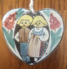 """Bromma Sweden Brown Stoneware Hanging Heart Boy Girl PLAQUE ORNAMENT 4""""tall"""