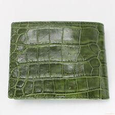 Genuine Real Belly Alligator Crocodile Skin Leather Man Bifold Green Wallet
