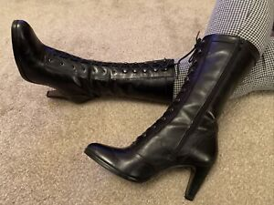 Clarks Black  Victorian Lace Up Leather Knee High Boots Size 7 Eur 41