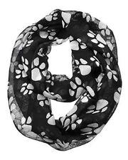 White Paw Print on Black Infinity Circle Loop Scarf Dog Pet