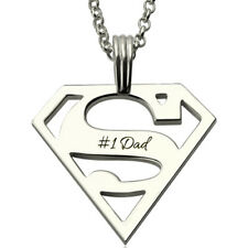 Personalised Name Superman Logo Dad Mens Necklace Jewellery Silver Plated UK