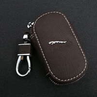 Coffee Cowhide leather Car Key Holder Keychain Ring Case Bag Fit For Jaguar Auto