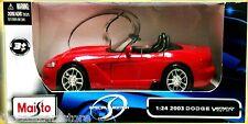 Maisto 2003 Dodge Viper SRT 10 RED 1/24 Diecast Car 31232RD