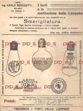 LAMPADINE LAMPADA SMERIGLIATURA ANNI 1930 PUBBLICITà BENEDETTI ROSSINI MILANO