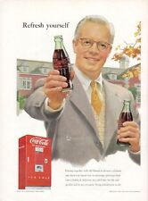 1952 Coke Coca Cola PRINT AD Man in Suit offering Coke Vintage Bottle $ Vending