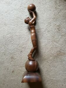 vintage wood carving basketball player athlete mid-century