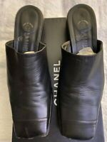 Chanel CC Black Leather Mules Size 9