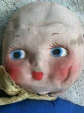 Antique 1800's Ragdoll Hand Painted Face Handmade Blue And Red Beauty