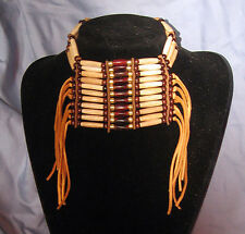 Native American Indian Buffalo Bone Breastplate Choker Necklace