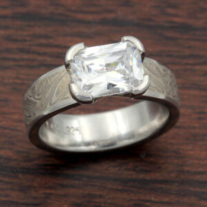 White Mokume Solitaire Straight Engagement Ring by Krikawa, size 4.25