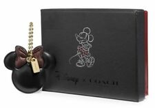 Disney Coach Boxed Minnie Mouse Bow Leather Bag Charm NWT Sparkly Bow