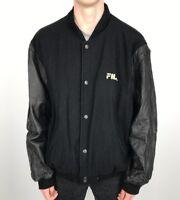 Vintage 90s FILA Wool VARSITY Jacket | Classic Sport Wavey | XL Black