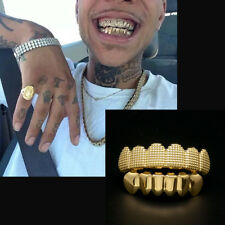 24K Gold Plated w/ Lattice Shape Hip Hop Teeth Grillz Top & Bottom Grill Set