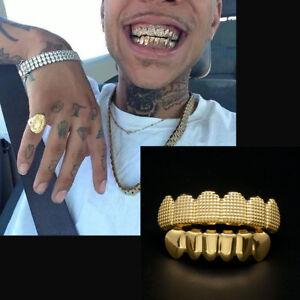24K Gold Plated w/ Lattice Shape Hip Hop Teeth Grillz Top & Bottom Grill Set