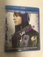 JUSTIN BIEBER: NEVER SAY NEVER BLU-RAY + DVD MOVIE 2011 MUSIC DOCUMENTARY