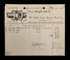 1902 USED BILLHEAD US MINERAL WOOL CO. NEW YORK, NY ILLUS. PIPE/GASKET LT21